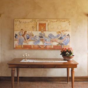 Figurative fresco fixed on a frame. Inspired by Alma Tadema
