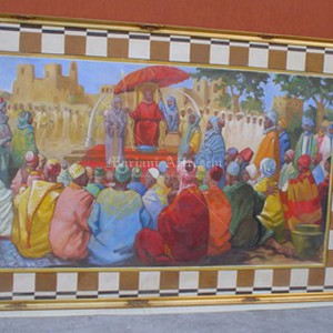 """Fresco fixed on a frame. """"Public Meeting"""", Presidential Palace of Mali"""