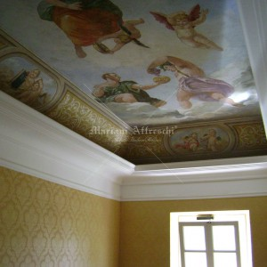 Fresco inspired by Tiepolo, painted on the ceiling of a private villa