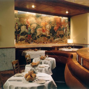 Fresco for a restaurant. Hunting scene, canvas applied to the wall