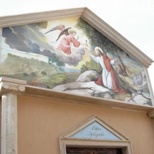 Religious fresco for an exterior façade. Private cemetery chapel