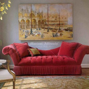 Fresco fixed on a frame for a living room. Piazza San Marco, Venice by Canaletto
