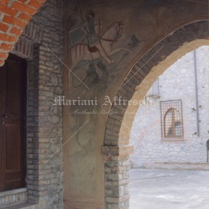 Castle of Montalfeo in Pavia. Frescoes in medieval style for indoors and outdoors