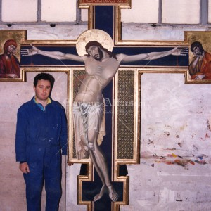 """""""Crucifixion"""". Fresco on panel for an altar"""