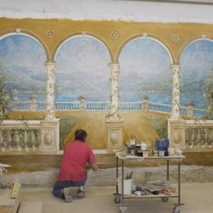 Execution of a fresco landscape for a private villa. Size 250 x 480 cm