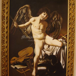 Authentic fake, Cupid by Caravaggio. Oil on canvas