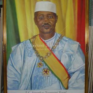 Fresco portrait of the President of Mali, Presidential Palace