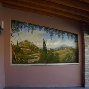Trompe l'oeil. Fresco for an outdoor terrace