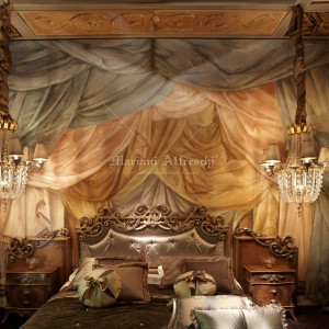 Trompe l'oeil fresco of curtains. Project by BelCor Interior