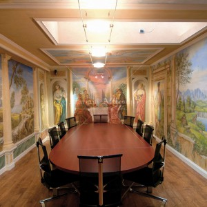 Frescoes in the style of Tiepolo glued to the walls and ceiling. Meeting room at the Salionti Company