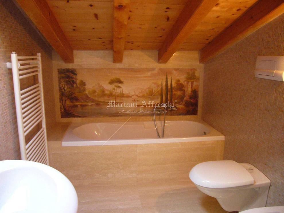 Great affresco con paesaggio lacustre applicato sopra vasca da bagno with vasca da bagno su misura - Pannelli vasca da bagno ...
