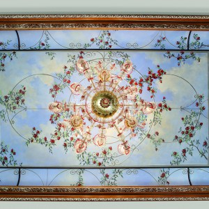 Trompe l'oeil fresco on a vaulted ceiling, with wooden frame. Made in collaboration with the Bakokko Group