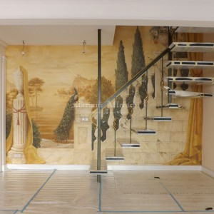 Trompe l'oeil fresco on the wall of a staircase