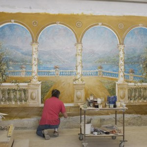 Execution of a fresco landscape for a private villa. Size 250 x 480 cm