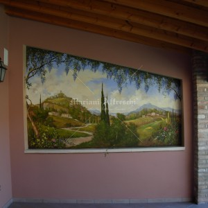 Trompe l'oeil. Fresco for an outdoor terrace