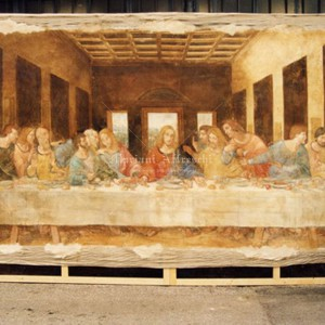 "Reproduction of fresco on canvas. ""The Last Supper"" by Leonardo da Vinci for the Mikuni restaurant in Tokyo. Size 280 x 450 cm"