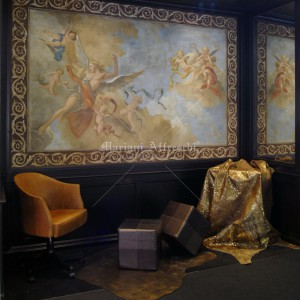 """Flight of the Angel"". Fresco inserted in picture-frame wainscoting for showroom"